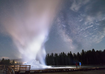 Castle Geyser Night Eruption